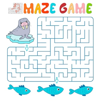 Jeu de puzzle labyrinthe pour les enfants. jeu de labyrinthe ou labyrinthe avec morse. illustrations vectorielles