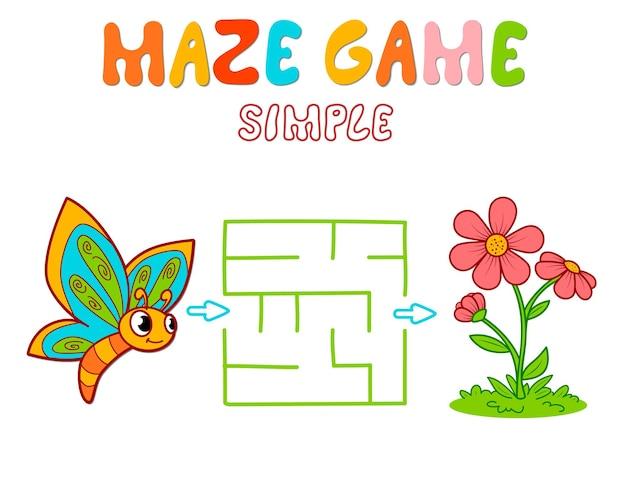 Jeu de puzzle labyrinthe simple pour les enfants. jeu de labyrinthe ou de labyrinthe simple de couleur avec papillon et fleur.