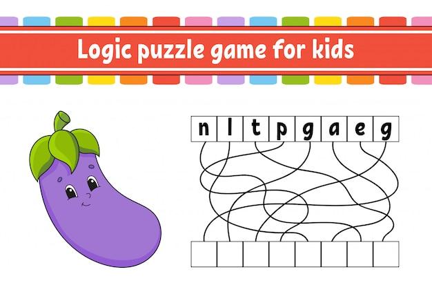 Jeu de puzzle logique. apprendre des mots pour les enfants. aubergine végétale.
