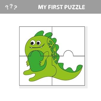 Jeu de puzzle mignon. illustration vectorielle de jeu de puzzle avec dino dessin animé heureux pour les enfants