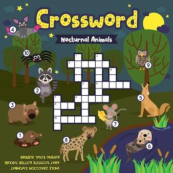 Jeu de puzzle de mots croisés d'animaux nocturnes