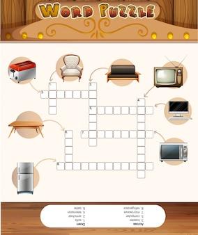 Jeu de puzzle de mots avec des objets dans la maison
