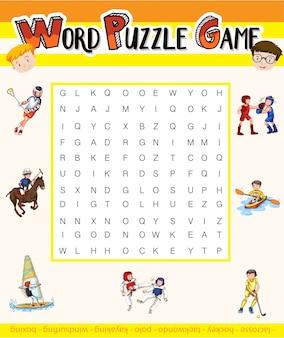 Jeu de puzzle de mots avec thème sport
