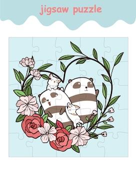 Jeu de puzzle de pandas et chat avec fleur de coeur