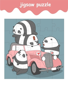 Jeu de puzzle de pandas et de voitures anciennes