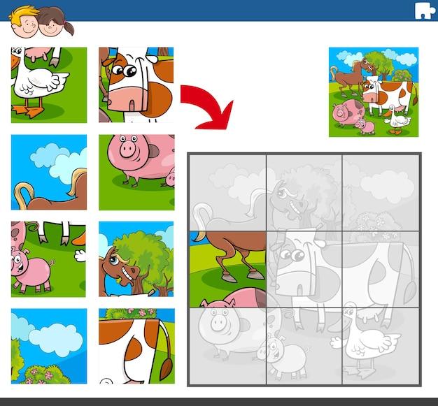 Jeu de puzzle avec des personnages drôles d'animaux de la ferme
