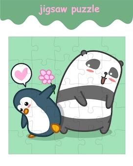Jeu de puzzle de pingouin et panda