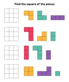 Jeu de puzzle pour la maternelle et les enfants d'âge préscolaire feuille de travail pliez le carré des pièces