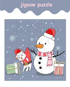 Jeu de puzzle de santa cat avec bonhomme de neige