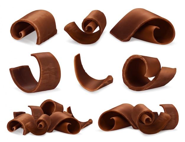 Jeu réaliste de copeaux de chocolat 3d, illustration de nourriture d'objets