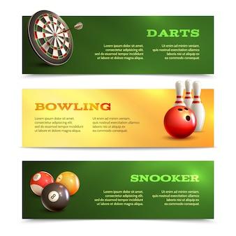 Jeu réaliste, horizontal, bannière, ensemble, bowling, snooker, fléchettes, isolé, vecteur, illustration