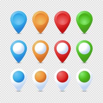 Jeu de repères de localisation. marqueur 3d. jeu de broches de pointeur de carte isolé. point de localisation web, pointeur flèche 3d