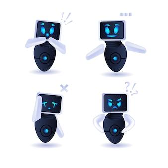 Jeu de robots mignons collection de personnages robotiques modernes intelligence artificielle technologie concept illustration vectorielle