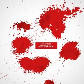 Jeu de sang rouge vecteur éclaboussures