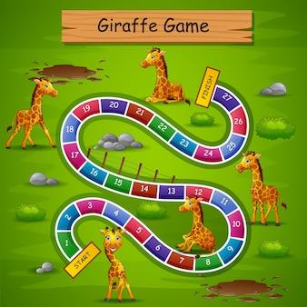 Jeu de serpents et échelles thème de la girafe