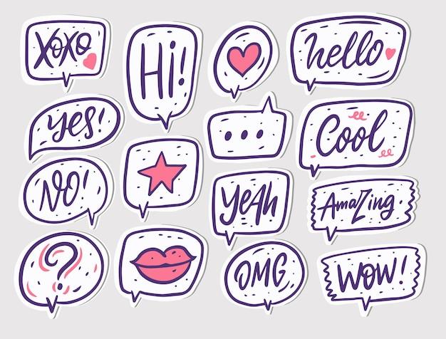 Jeu de signes et texte de dialogue de bulles