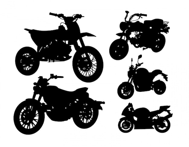 Jeu de silhouette de transport de moto