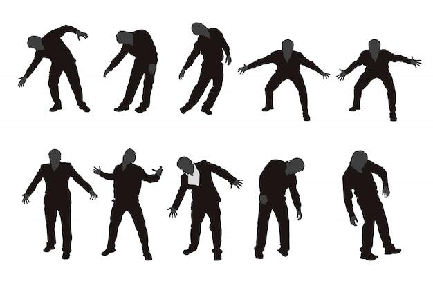 Jeu de silhouette de zombie