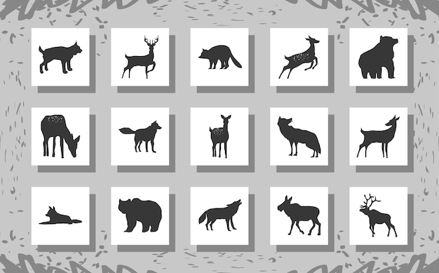 Jeu de silhouettes d'animaux