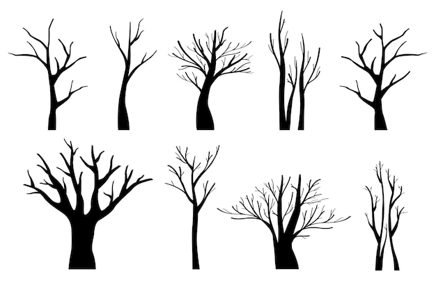 Jeu de silhouettes d'arbres noirs
