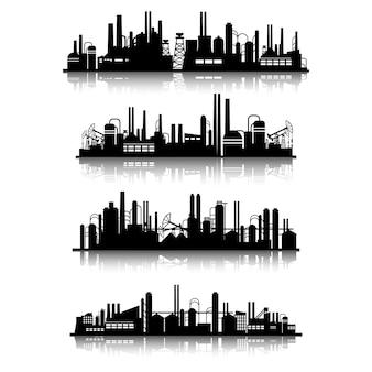 Jeu de silhouettes de bâtiments industriels