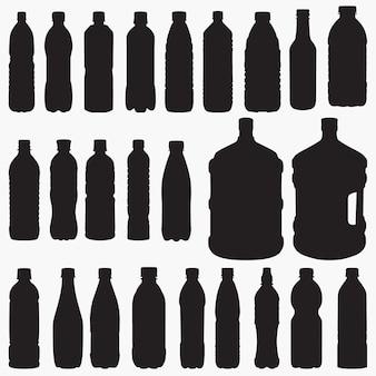 Jeu de silhouettes de bouteille d'eau