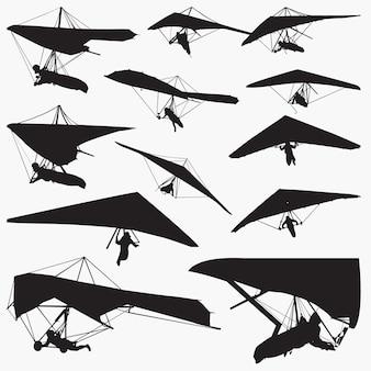 Jeu de silhouettes deltaplane