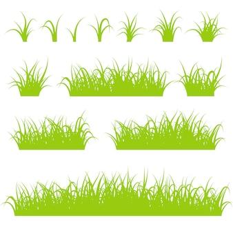Jeu de silhouettes d'herbe verte isolé sur fond blanc