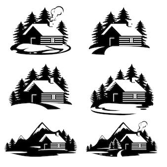 Jeu de silhouettes de maison forestière