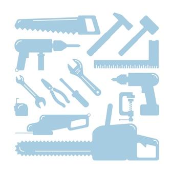 Jeu de silhouettes d'outils