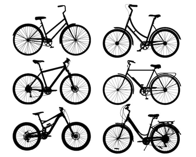 Jeu de silhouettes de vélo vector silhouettes de vélo noir détaillées réalistes eps10