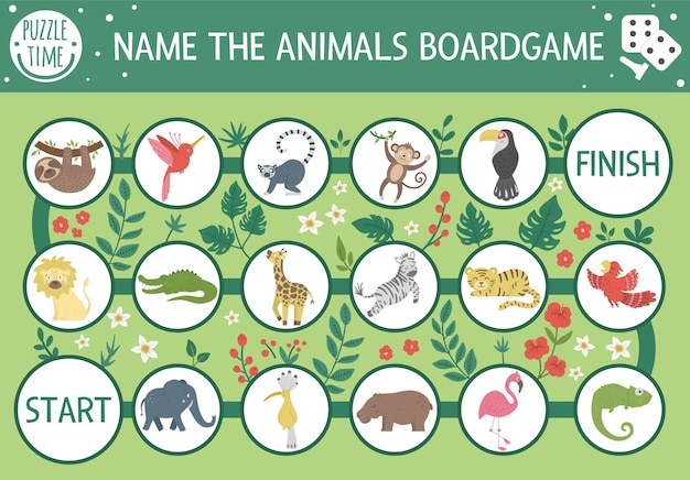 Jeu de société d'aventure tropicale pour enfants avec des animaux mignons, des plantes, des oiseaux. jeu de société exotique éducatif. nommez l'activité des animaux. jeu d'été pour les enfants