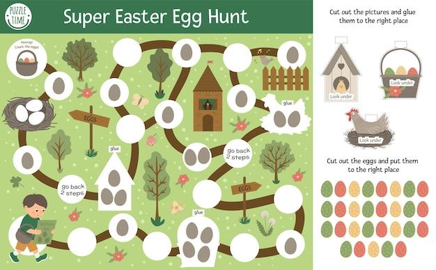 Jeu de société de chasse aux œufs d'aventure de pâques pour enfants avec des personnages mignons