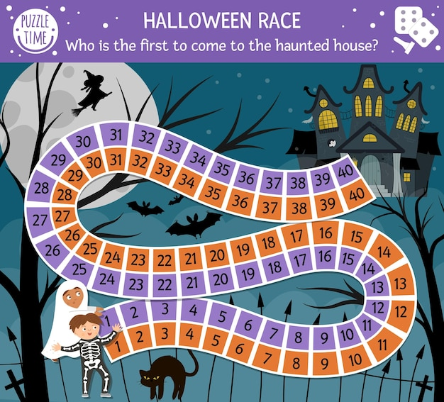 Jeu de société d'halloween pour les enfants avec un château effrayant et des enfants mignons. jeu de société éducatif avec des chauves-souris, un chat noir, une sorcière. qui est le premier à venir dans la maison hantée ? activité imprimable effrayante.