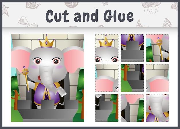 Jeu de société pour enfants découpé et collé avec un joli personnage d'éléphant royal