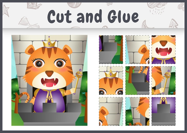 Jeu de société pour enfants découpé et collé avec un joli personnage de roi tigre