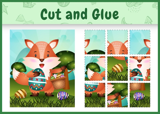 Jeu de société pour enfants découpé et collé sur le thème de pâques avec un renard mignon tenant l'œuf de seau et l'œuf de pâques