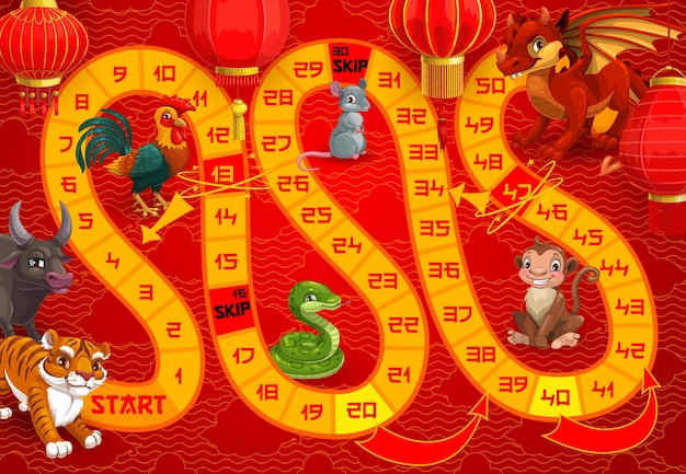 Jeu de société de vacances du nouvel an pour les enfants avec des animaux du calendrier chinois