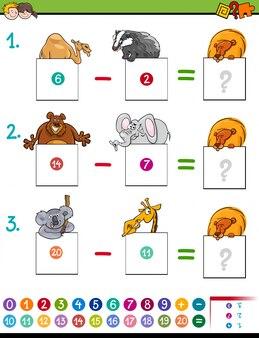 Jeu de soustraction de maths avec des animaux