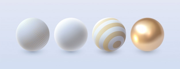 Jeu de sphères 3d abstrait. . éléments de décoration pour la conception. formes blanches et dorées
