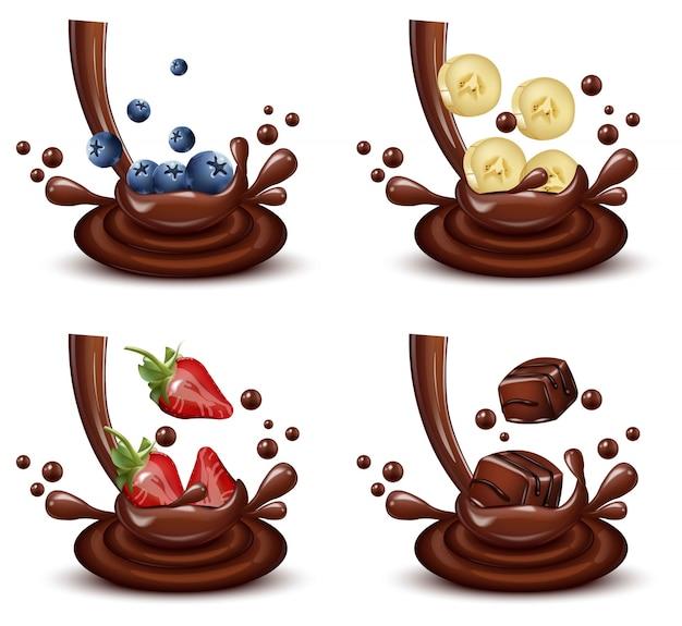 Jeu de splash chocolat avec mélange de fruits différents vector réaliste