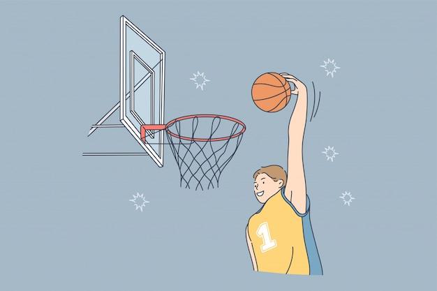 Jeu de sport jouant le concept de passe-temps de basket-ball de compétition de match