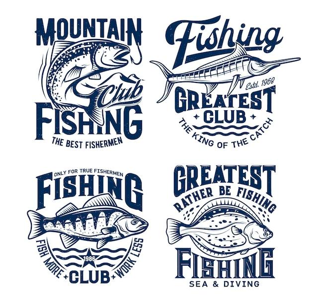Jeu de sport de pêche. saumon, perche, plie et marlin