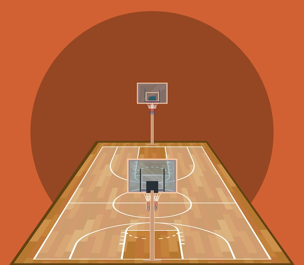 Jeu de sport sur terrain de basket en bois