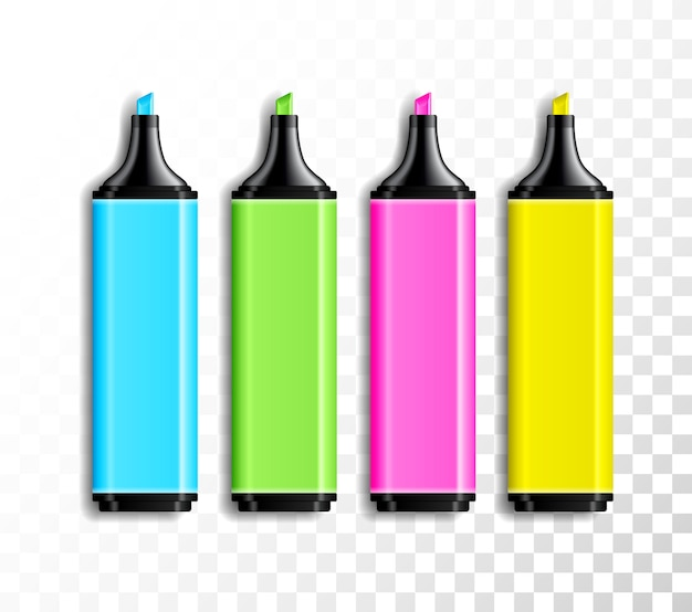 Jeu de stylos colorés réalistes