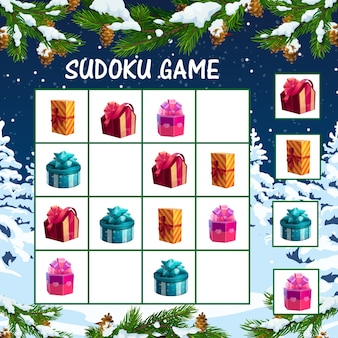 Jeu de sudoku de noël pour les enfants avec des boîtes de cadeaux de vacances. labyrinthe logique pour enfants, modèle de jeu éducatif avec enveloppé dans du papier de couleur et décoré avec des arcs de ruban présente des boîtes de dessin animé