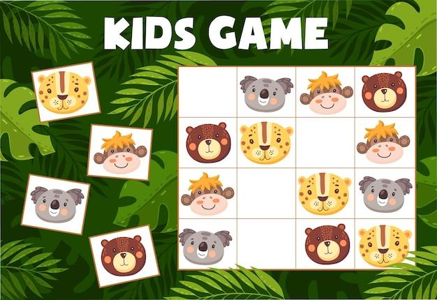 Jeu de sudoku pour enfants avec des animaux drôles, énigme vectorielle avec des personnages de dessins animés koala, léopard, ours et singe sur un damier. tâche éducative, jeu de société teaser pour enfants pour activité de loisirs pour bébé