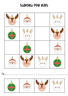 Jeu de sudoku pour les enfants avec des boules de noël.