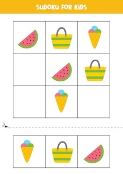 Jeu de sudoku pour les enfants avec des éléments d'été de dessins animés.