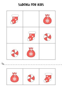 Jeu de sudoku pour enfants avec des images de noël.
